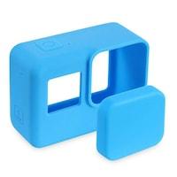 Carcasa de protectie albastra din silicon cu capac compatibila cu GoPro Hero 5, GoPro Hero 6, GoPro Hero 7