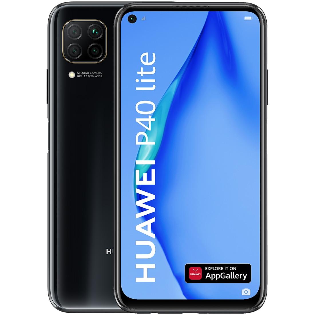 Fotografie Telefon mobil Huawei P40 Lite, Dual SIM, 128GB, 6GB RAM, 4G, Midnight Black