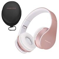 PowerLocus P1 Bluetooth fejhallgató, vezeték nélküli fül köré illeszkedő összehajtható, micro SD, FM Rádió (Rózsa arany)