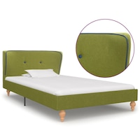 vidaXL zöld szövetkárpitozású ágykeret 90 x 200 cm