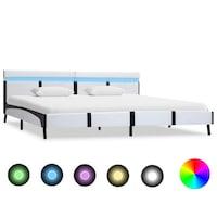 vidaXL fehér LED-es műbőr ágykeret 180 x 200 cm