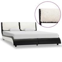 vidaXL fekete és fehér műbőr ágykeret 140 x 200 cm