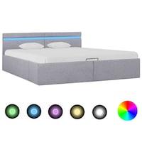 vidaXL világosszürke szövet LED-es ágy hidraulikus tárolóval 180x200cm