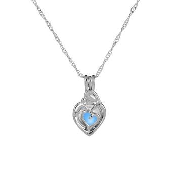 Sötétben lumineszkáló szív medál nyaklánccal, kék