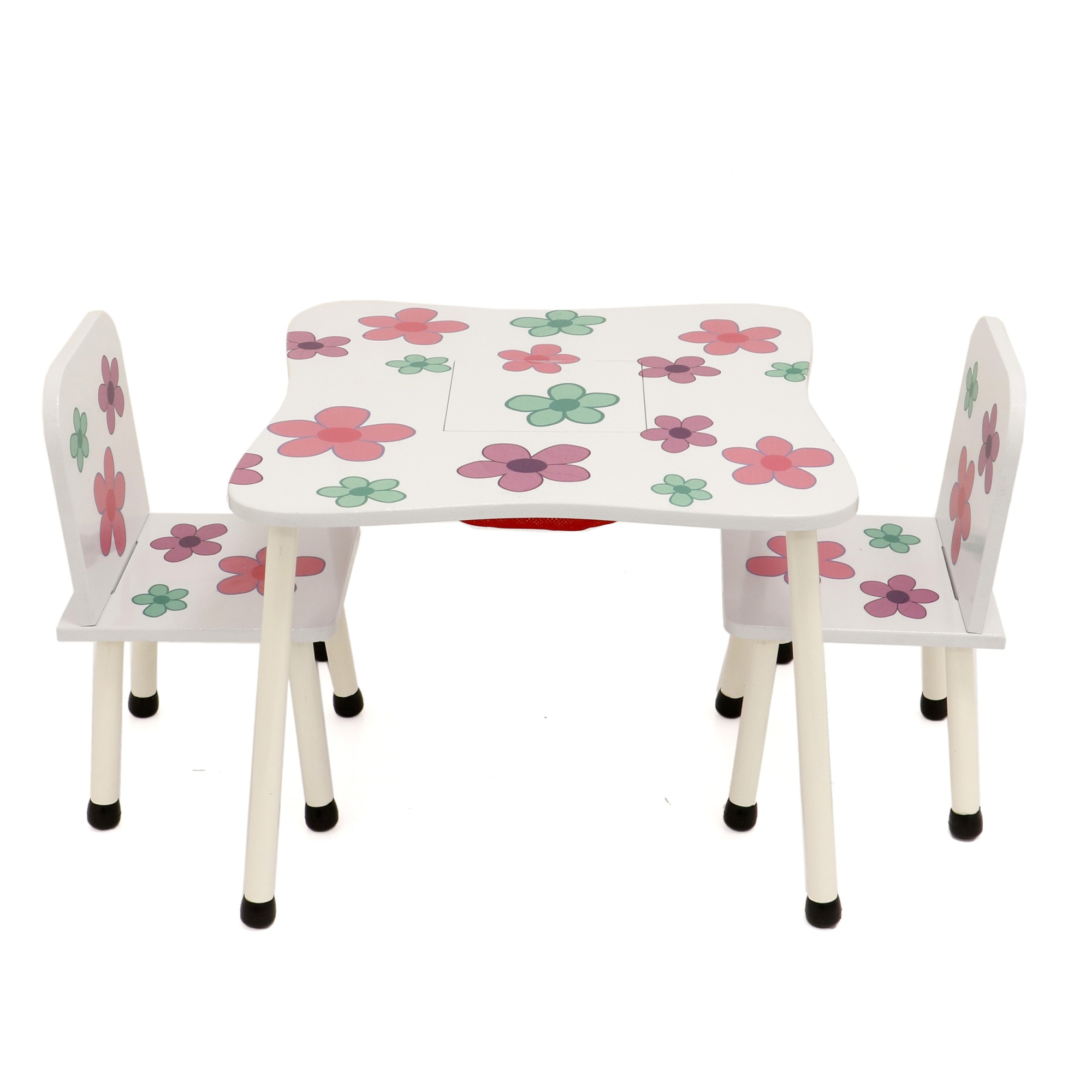 Fotografie Set masuta activitati Mappy Happy, cu 2 scaune, din lemn, Alb / Roz