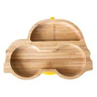 Bambusz tányér gyermekek számára Autó, Eco Rascals, sárga