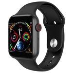 Ceas Smartwatch si Bratara Fitness Fashion Ideal 5.0, Monitorizare ritm cardiac si tensiune arteriala, Afisaj multiplu, Notificari apeluri/mesaje, Music Play Control, Silicon Negru