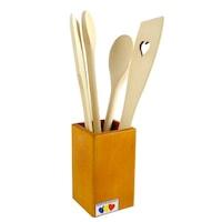 Set linguri si spatule din lemn cu suport, pentru bucatarie, ATS