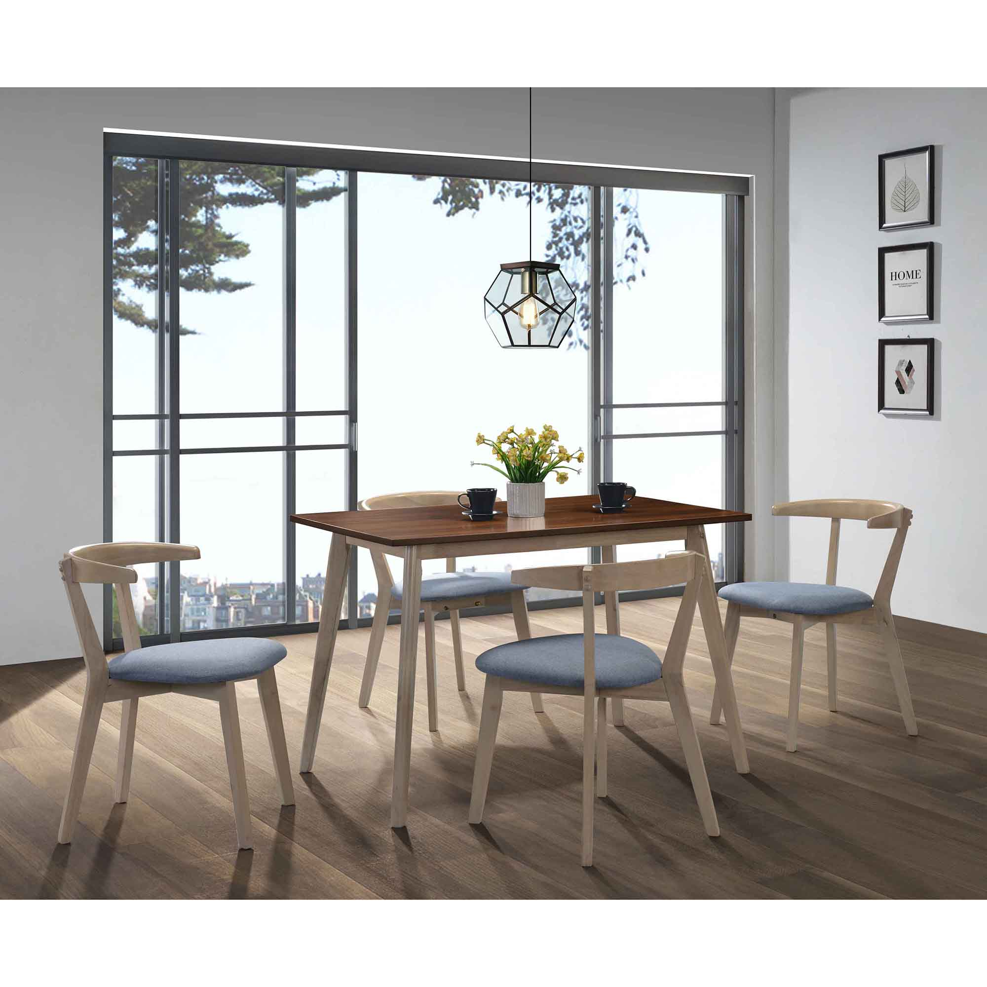 Fotografie Set 2 scaune dining Kring Mod, lemn, 47x47x70 cm, Gri