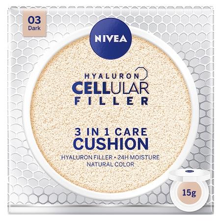 Crema coloranta Nivea Hyaluron Cellular Filler 3-in-1 Care Cushion 03 Dark, 15 g