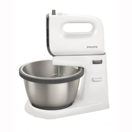 Mixer cu bol Philips Daily Collection HR3750/00, 450W, 5 viteze + turbo, castron 3l, tel dublu, instrumente de framantare, Alb