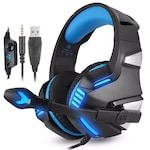 Casti Gaming HunterSpider V3 Pro, Surround Sound 7.1, Super Deep Bass, Lumina LED, Pentru PC / XBOX / PS , Microfon Noise Cancelling, Zero Ear Pressure, Control Volum, Insertie Metal, Protectie ureche din piele, Multi Platform , Albastru