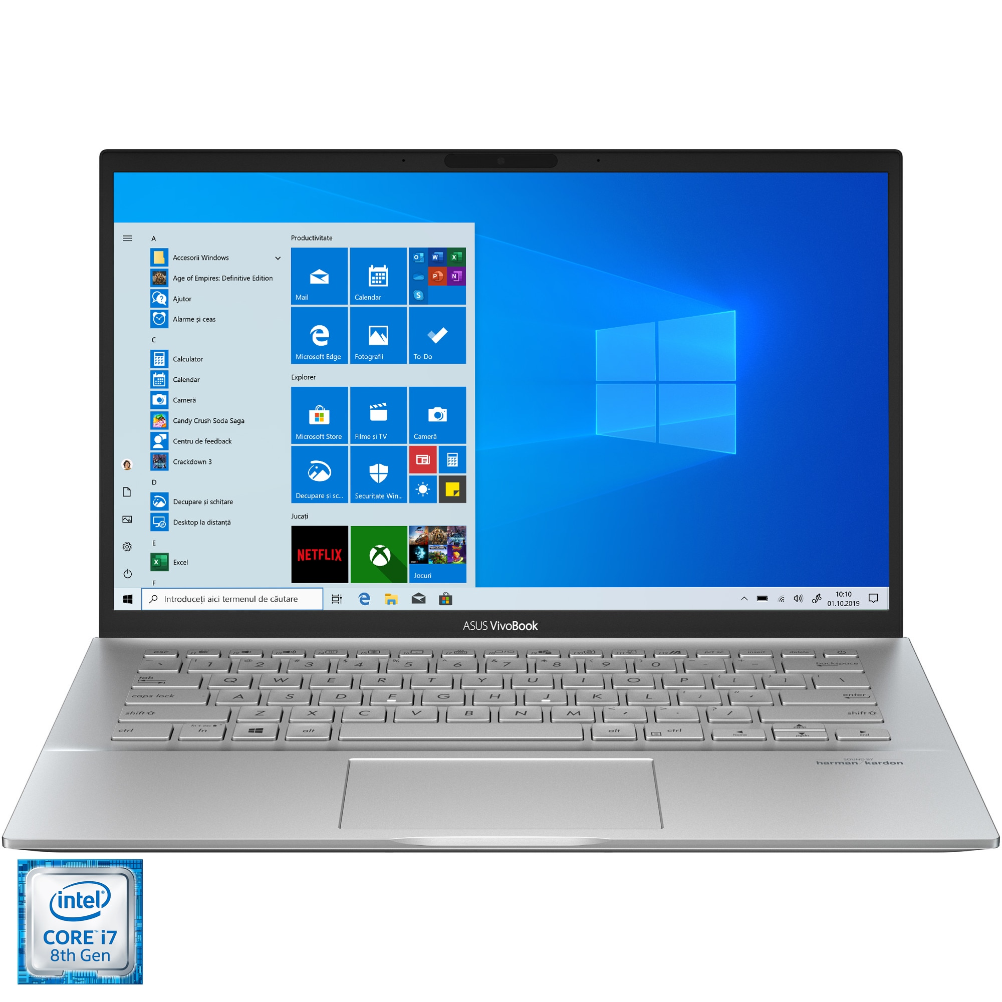 "Fotografie Laptop ultraportabil ASUS VivoBook S14 S431FL cu procesor Intel® Core™ i7-8565U pana la 4.60 GHz Whiskey Lake, 14"", FullHD, 16GB, 512GB SSD, NVIDIA® GeForce® MX250 2GB, Windows 10 Pro, Transparent Silver"