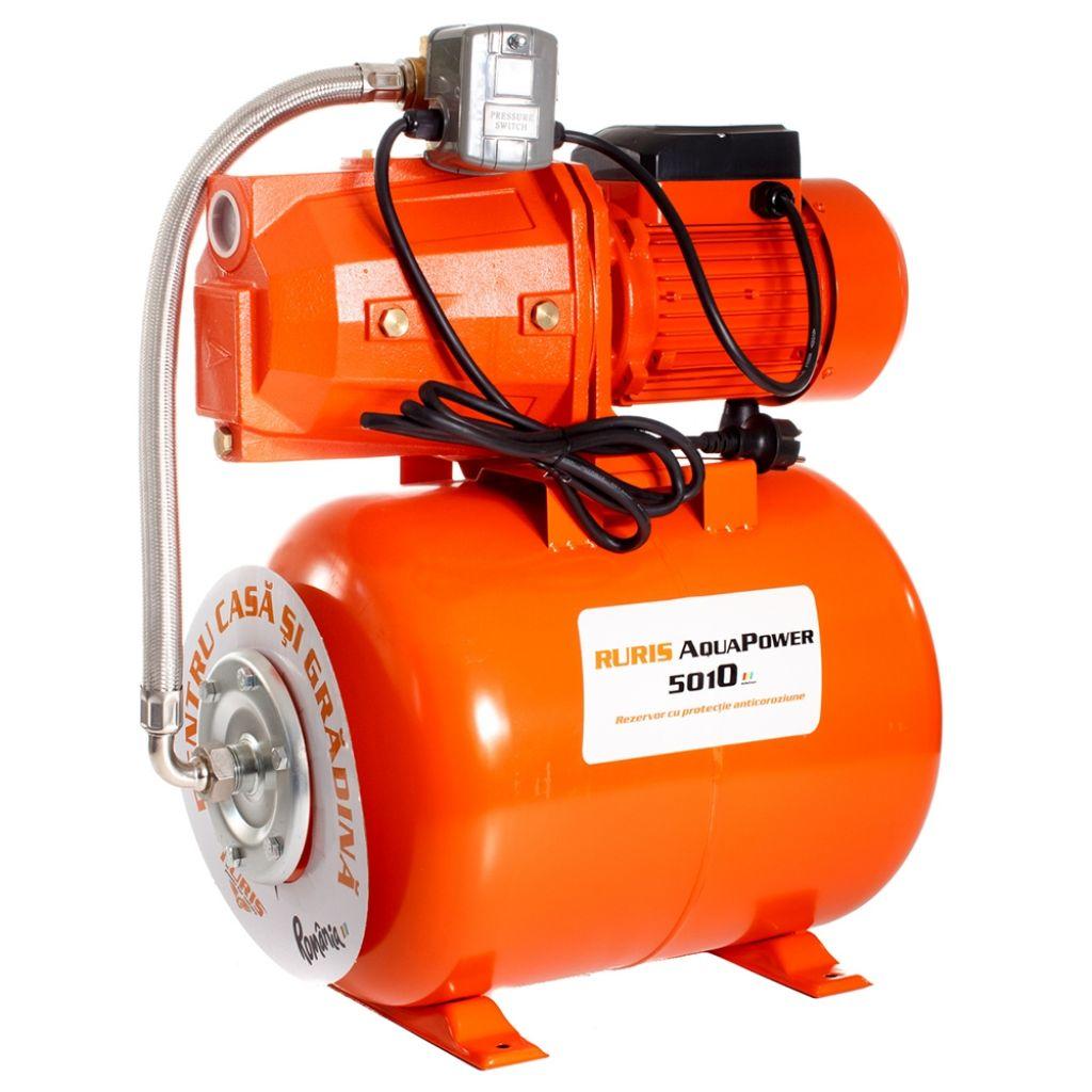 Fotografie Hidrofor Ruris Aquapower 5010, 2200 W, 230 V, 50 l capacitate vas expansiune, debit 60 l/min, 70 m inaltime refulare, 9 m adancime absorbtie, rezistent la coroziune, 2 m lungime cablu