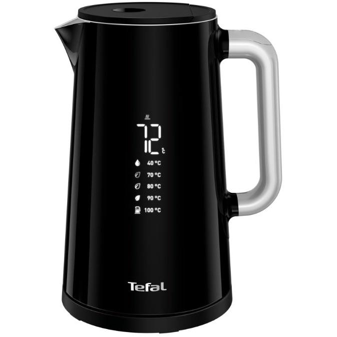 Fotografie Fierbator TEFAL Smart'n Light KO851830, 1800W, ecran digital, capacitate 1.7L, 5 trepte temperatura, baza rotativa, interior inox, negru