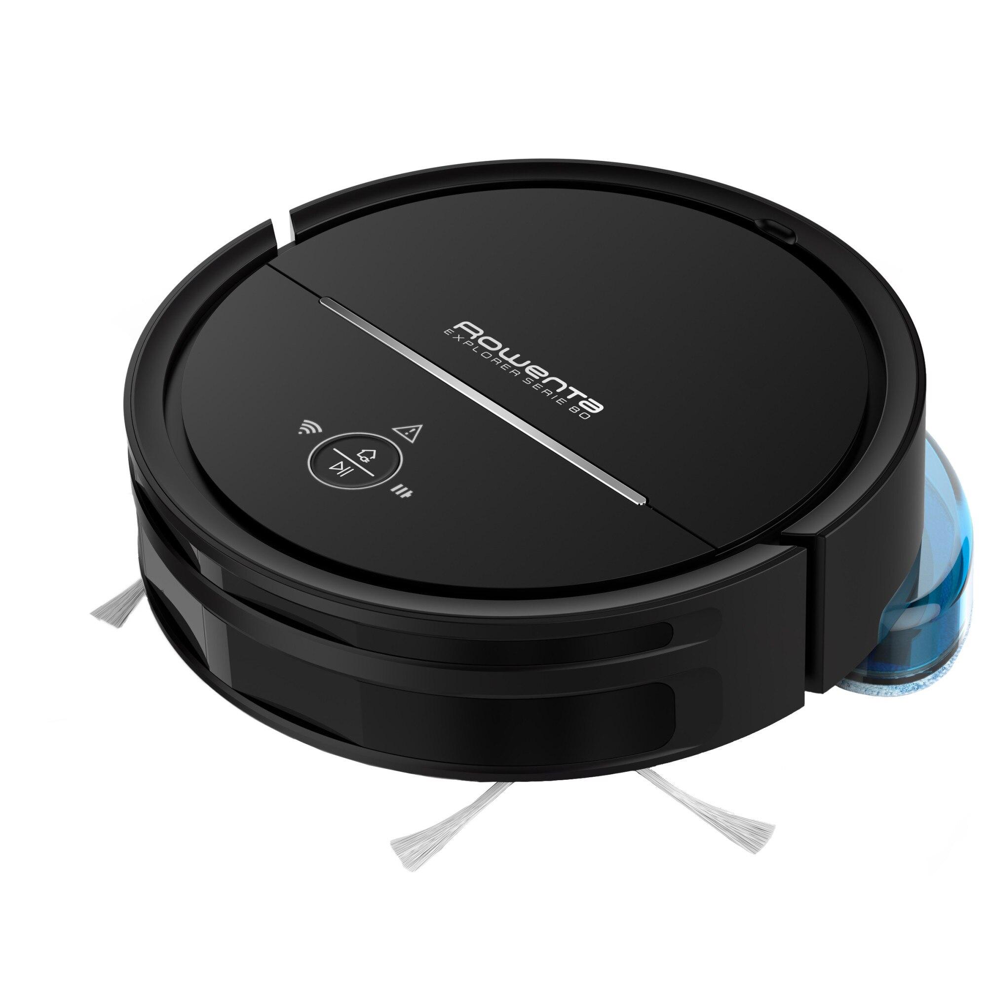 Fotografie Aspirator robot ROWENTA X-Plorer Animal Serie 80 RR7755WH, 33W, recipient 0.7l, 3 functii de curatare, compatibil cu smartphone-ul, Sistem Aqua Force, negru