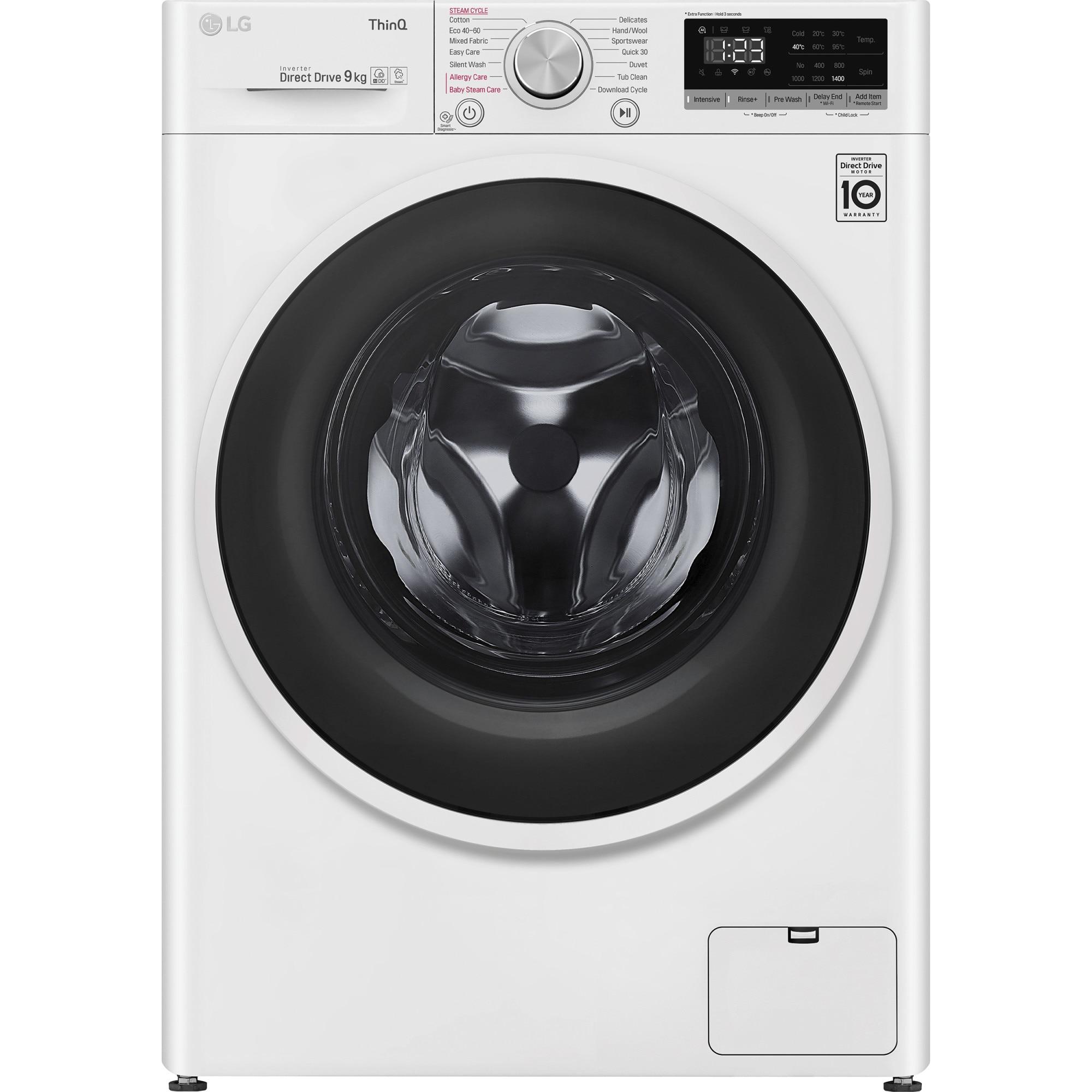 Fotografie Masina de spalat rufe LG F4WT409AIDD, 9 kg, 1400 RPM, Clasa D, AI Direct Drive, Steam, Smart Diagnoisis, WiFi, Alb