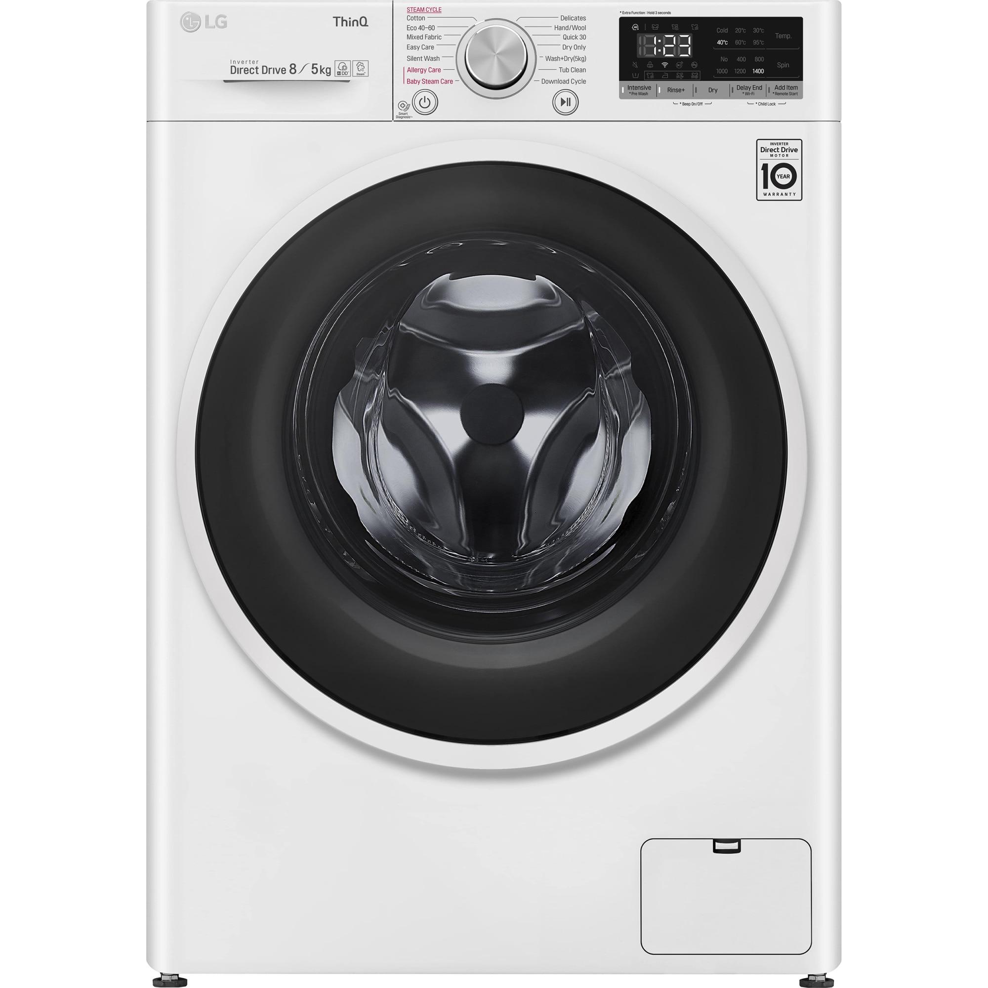 Fotografie Masina de spalat rufe cu uscator LG F4DT408AIDD, Spalare 8 kg, Uscare 5 kg, 1400 RPM, Clasa D, AI Direct Drive, Steam, Smart Diagnosis, WiFi, Alb