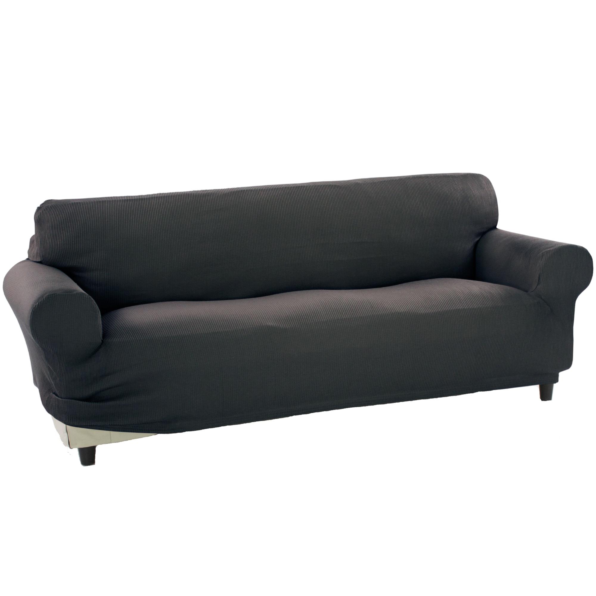 Fotografie Husa elastica pentru canapea 3 locuri Kring Nairobi, intre 180-220 cm, 60% bumbac+ 35% poliester + 5% elastan, Gri