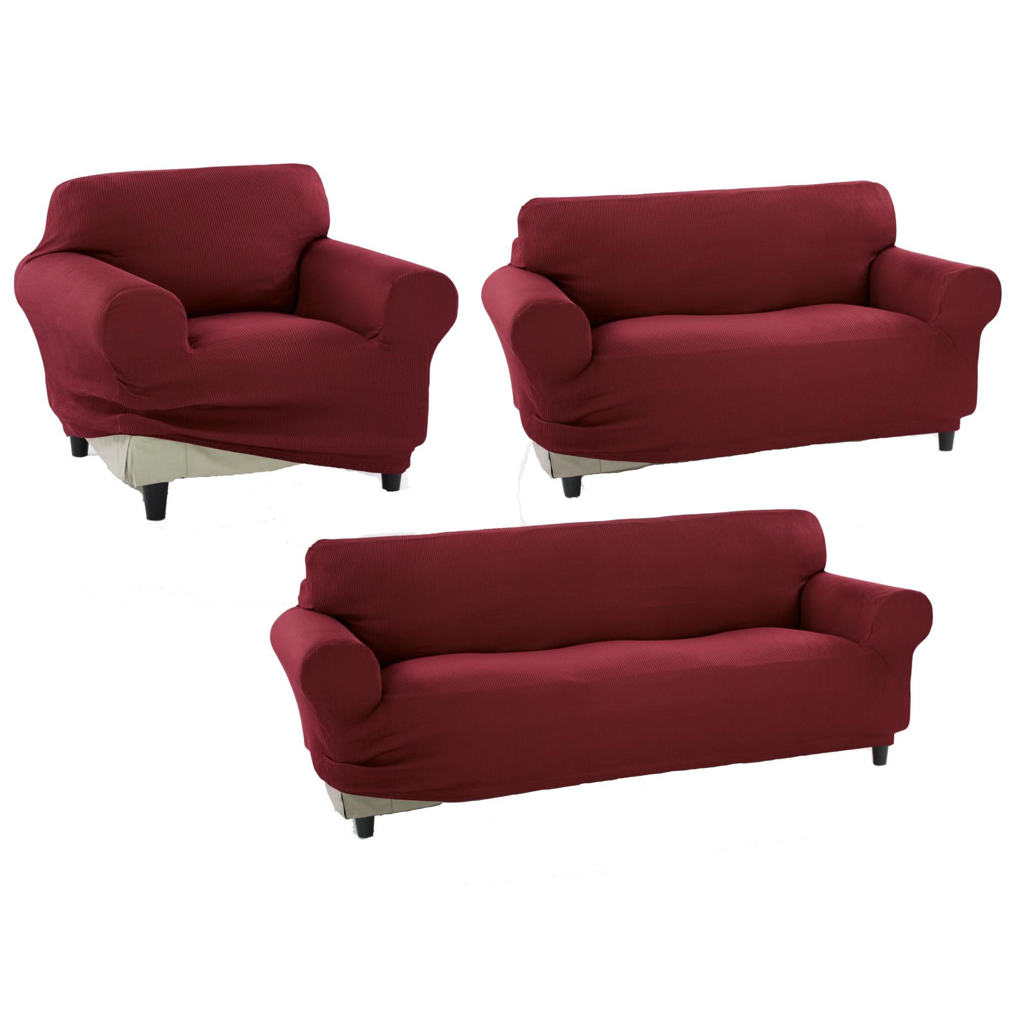 Fotografie Set huse elastice pentru o canapea 3 locuri, o canapea 2 locuri si 1 fotoliu Kring Nairobi, 60% bumbac+ 35% poliester + 5% elastan, Bordeaux