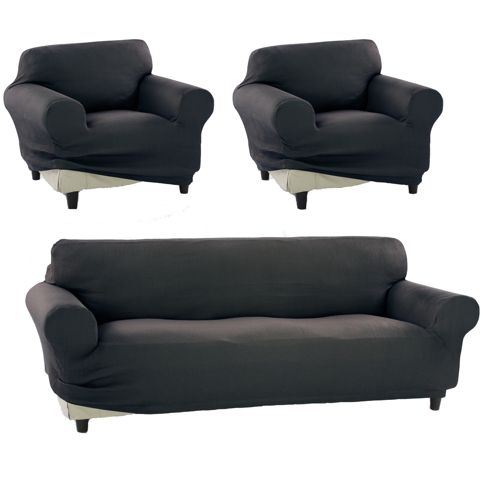 Fotografie Set huse elastice pentru canapea 3 locuri si 2 fotolii Kring Nairobi, 60% bumbac+ 35% poliester + 5% elastan, Gri