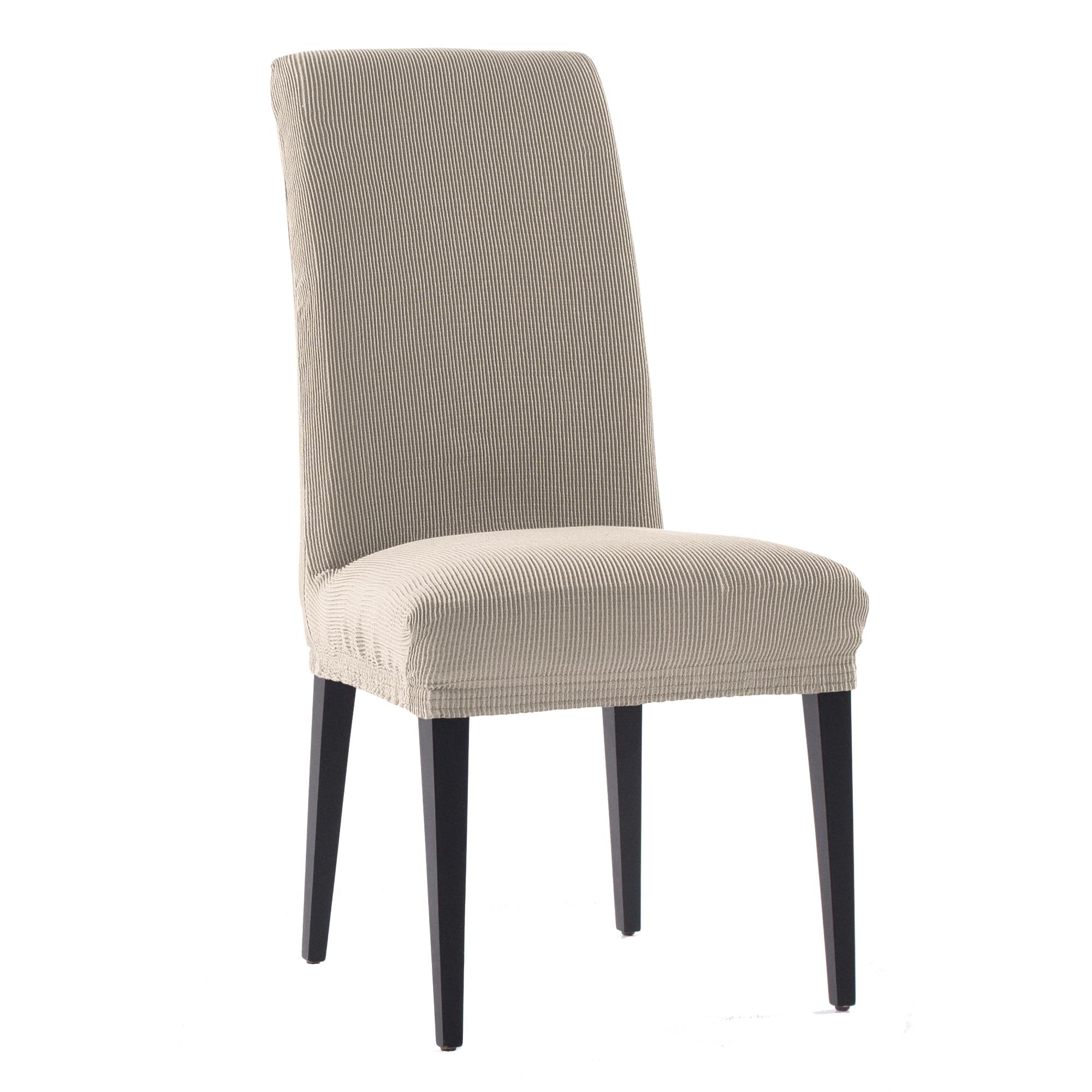 Fotografie Set 2 huse elastice pentru scaune Kring Nairobi, cu spatar de pana la 50 cm, 60% bumbac+ 35% poliester + 5% elastan, Bej