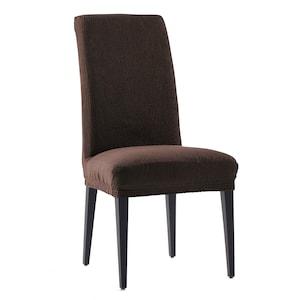 Set 2 huse elastice pentru scaune Kring Nairobi, cu spatar de pana la 50 cm, 60% bumbac+ 35% poliester + 5% elastan, Maro