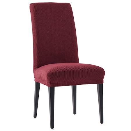 Set 2 huse elastice pentru scaune Kring Nairobi, cu spatar de pana la 50 cm, 60% bumbac+ 35% poliester + 5% elastan, Bordeaux