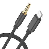 AUX Audio Kábel Lightning csatlakozóval Fekete