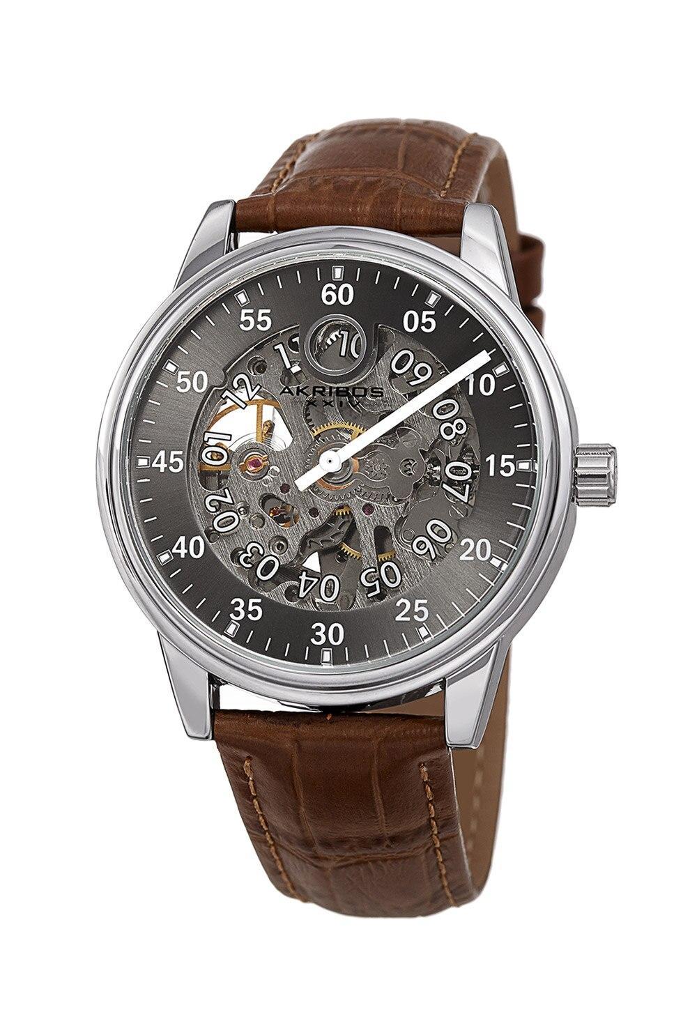 Fotografie AKRIBOS XXIV, Ceas automatic cu o curea din piele cu aspect de piele de crocodil, Maro inchis/Argintiu