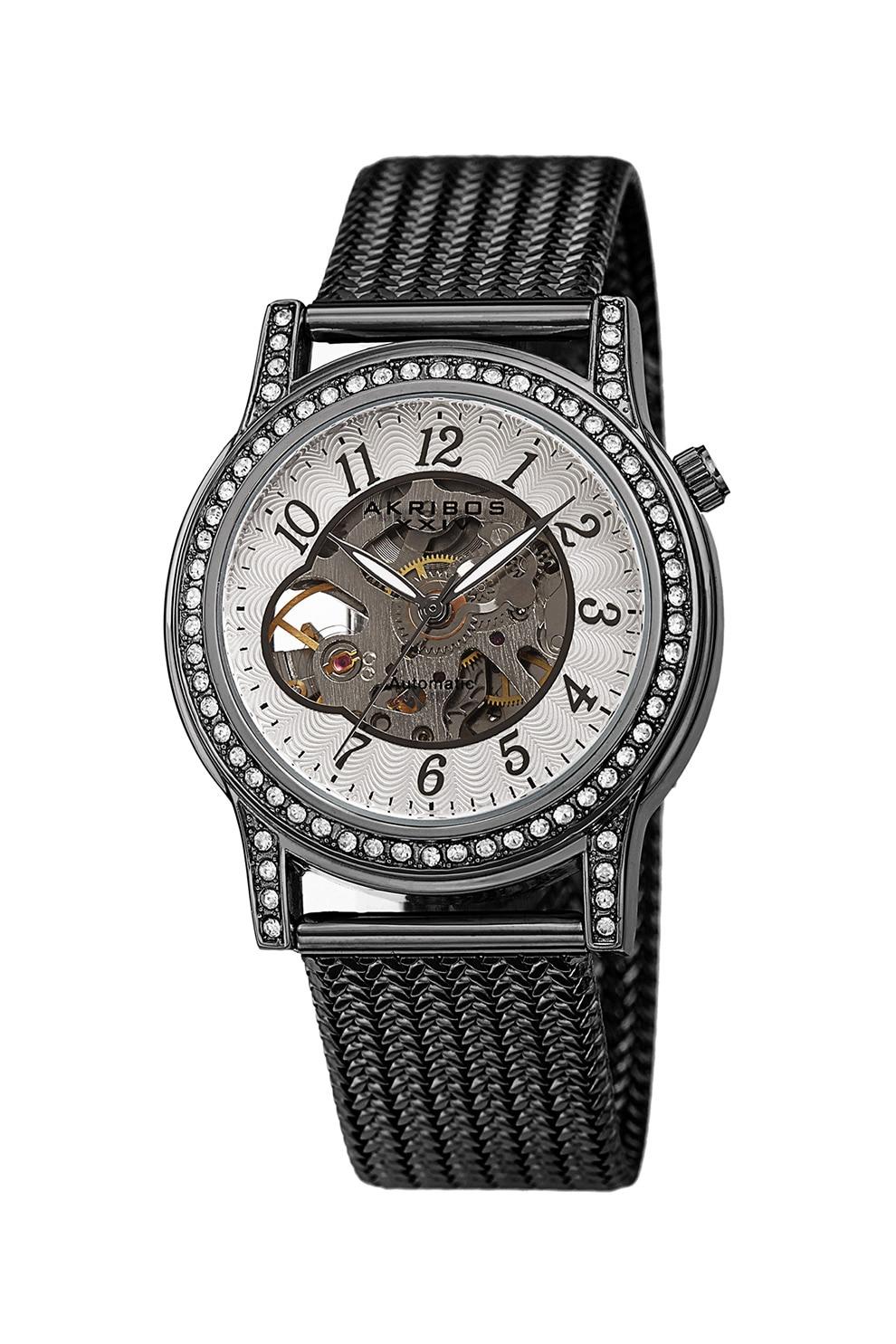 Fotografie AKRIBOS XXIV, Ceas automatic cu cristale si cadran cu mecanism partial vizibil, Argintiu inchis