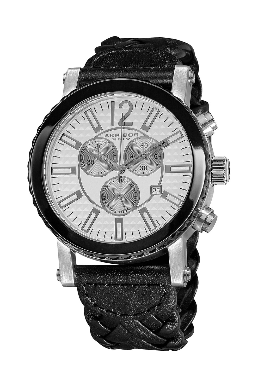 Fotografie AKRIBOS XXIV, Ceas cronograf cu o curea de piele cu aspect impletit, Negru/Argintiu