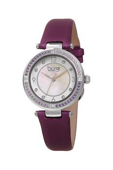 BURGI, Кварцов часовник с кристали, Виолетов / Сребрист