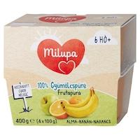 Milupa Frutapura 100% gyümölcspüré, 6 hónapos kortól, Alma, narancs és banán, 4 x 100g