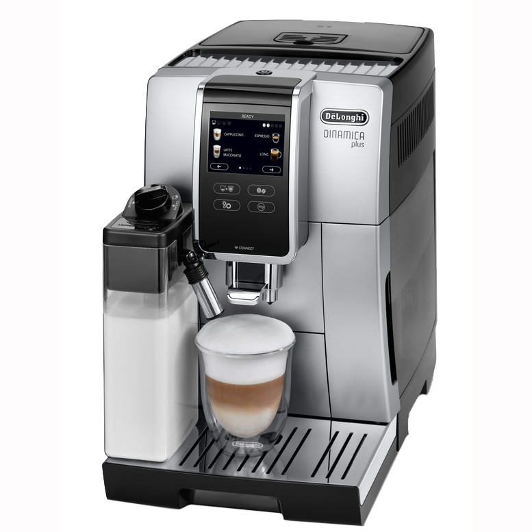 "Fotografie Espressor automat De'Longhi Dinamica Plus ECAM370.85.SB, 1450W, 19 bar, sistem LatteCrema, program ""My coffee"", Bluetooth, Gri"