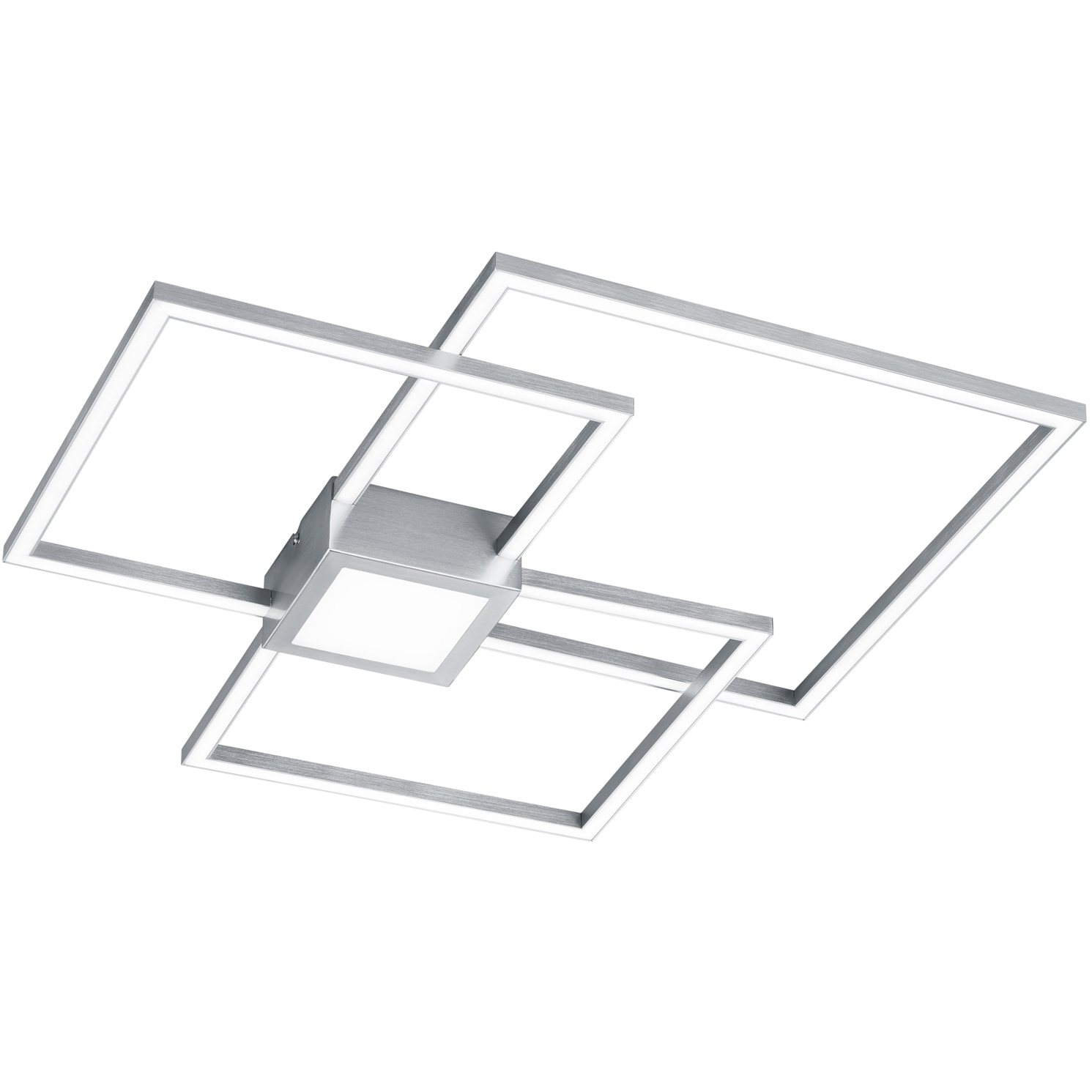 Fotografie Lustra LED integrat Trio Hydra Square, tip plafoniera, cu intrerupator dimmer, 38W, 4000 lm, 3000K, IP20, metal, Nichel mat