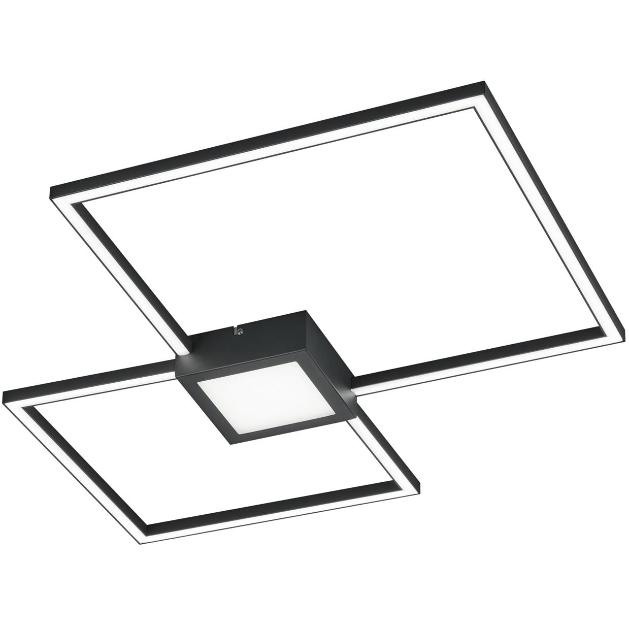 Fotografie Lustra LED integrat Trio Hydra Square, tip plafoniera, cu intrerupator dimmer, 28W, 2600 lm, 3000K, IP20, metal, Antracit