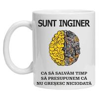 "Cana personalizata inscriptionata cu textul ""sunt inginer"", CRD PRINT, 330ml, alba"