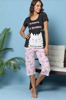 Női pamut pizsama,rövid ujjú,capri-halász alsóval,fekete-púderrózsaszín,S