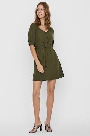 Vero Moda, Lentartalmú ruha megkötővel, Katonai zöld, S