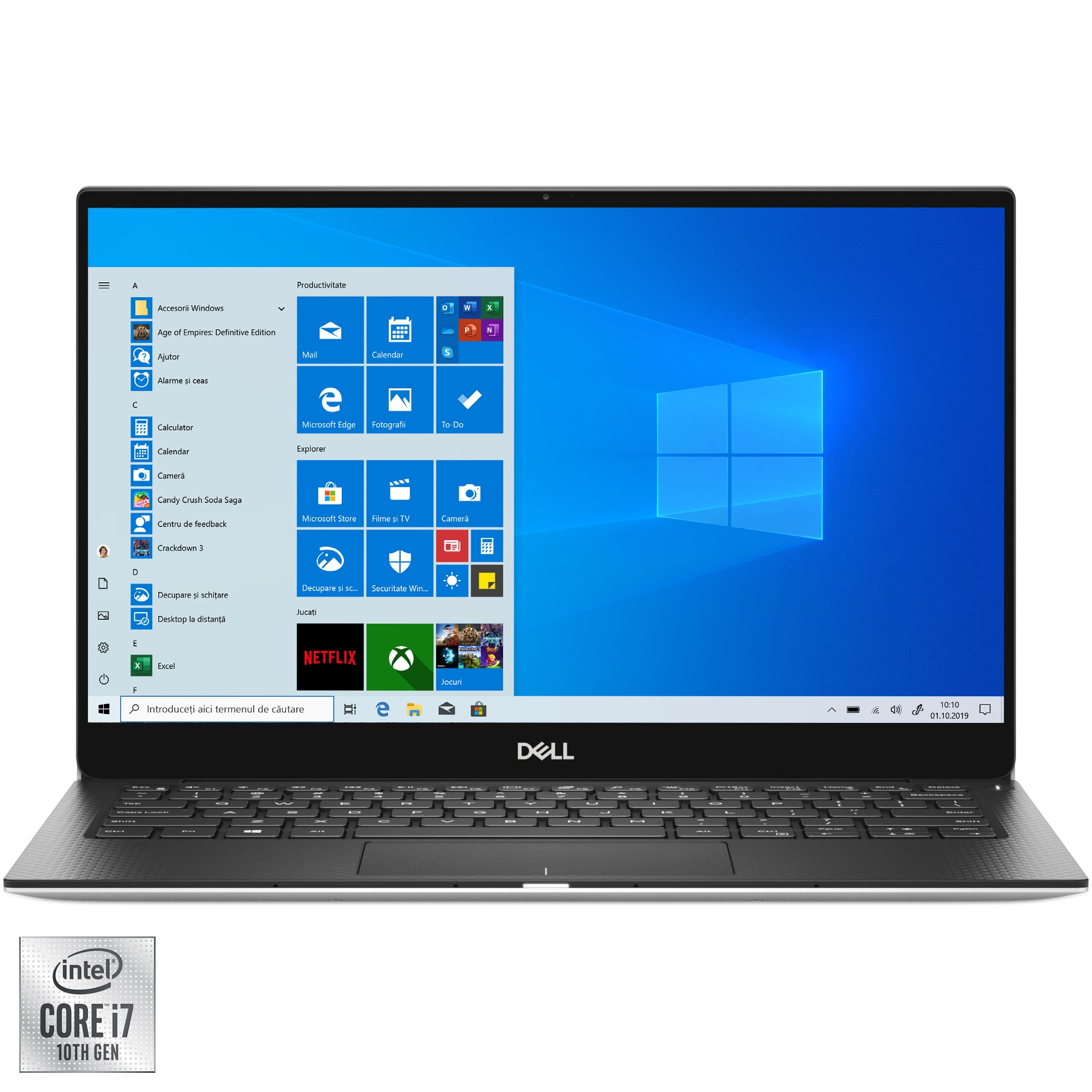"Fotografie Laptop ultraportabil Dell XPS 13 7390 cu procesor Intel Core i7-10710U pana la 4.70 GHz, 13.3"", UHD, Touch, 16GB, 1TB SSD, Intel UHD Graphics, Windows 10 Pro, Silver"
