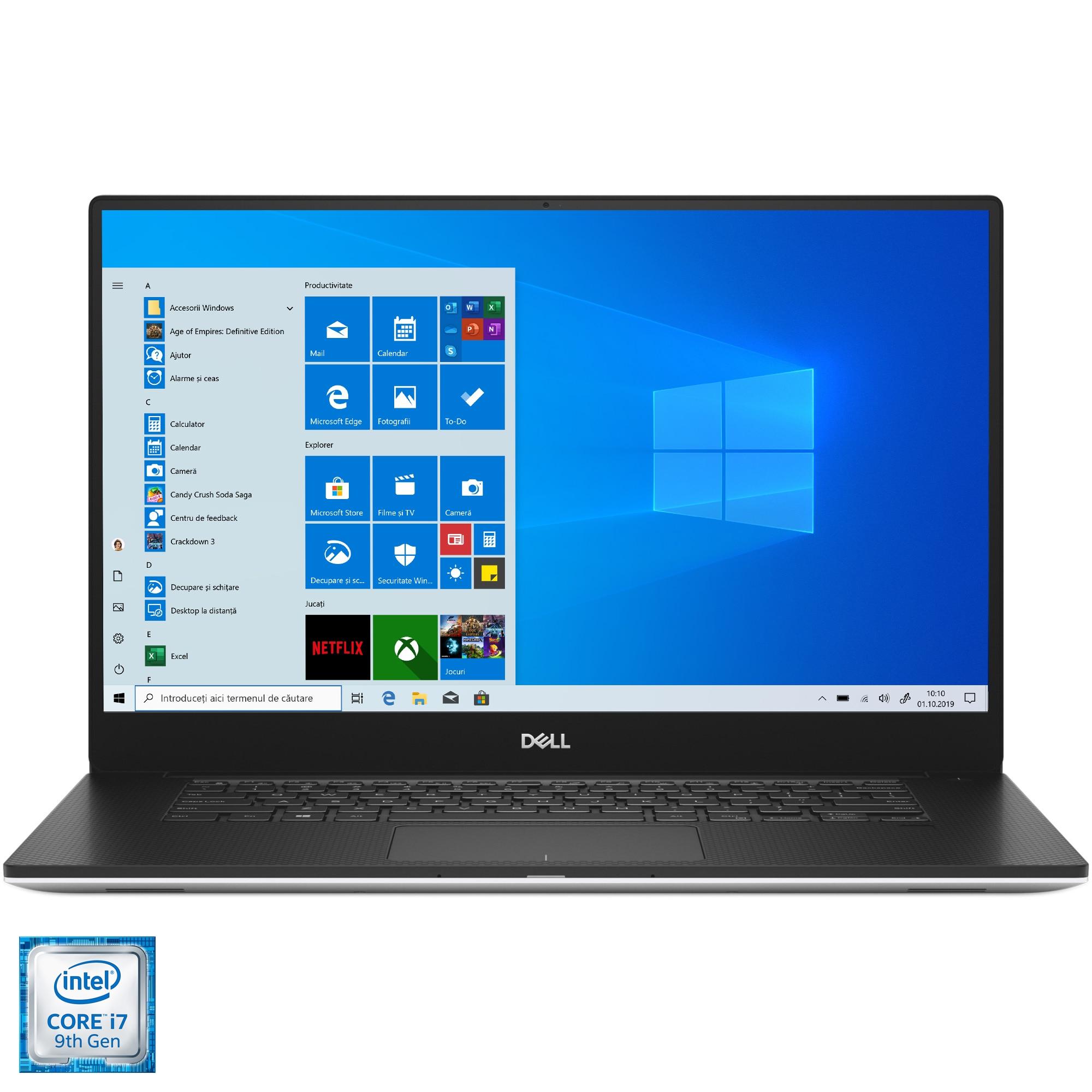 "Fotografie Laptop ultraportabil Dell XPS 7590 cu procesor Intel® Core™ i7-9750H pana 4.50 GHz, 15.6"", 4K UHD, Touch, 16GB, 1TB SSD, NVIDIA GeForce GTX 1650 4GB, Windows 10 Pro, Silver"