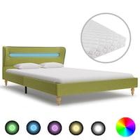 vidaXL zöld szövetágy LED-el és 3 rétegű matraccal 120 x 200 cm