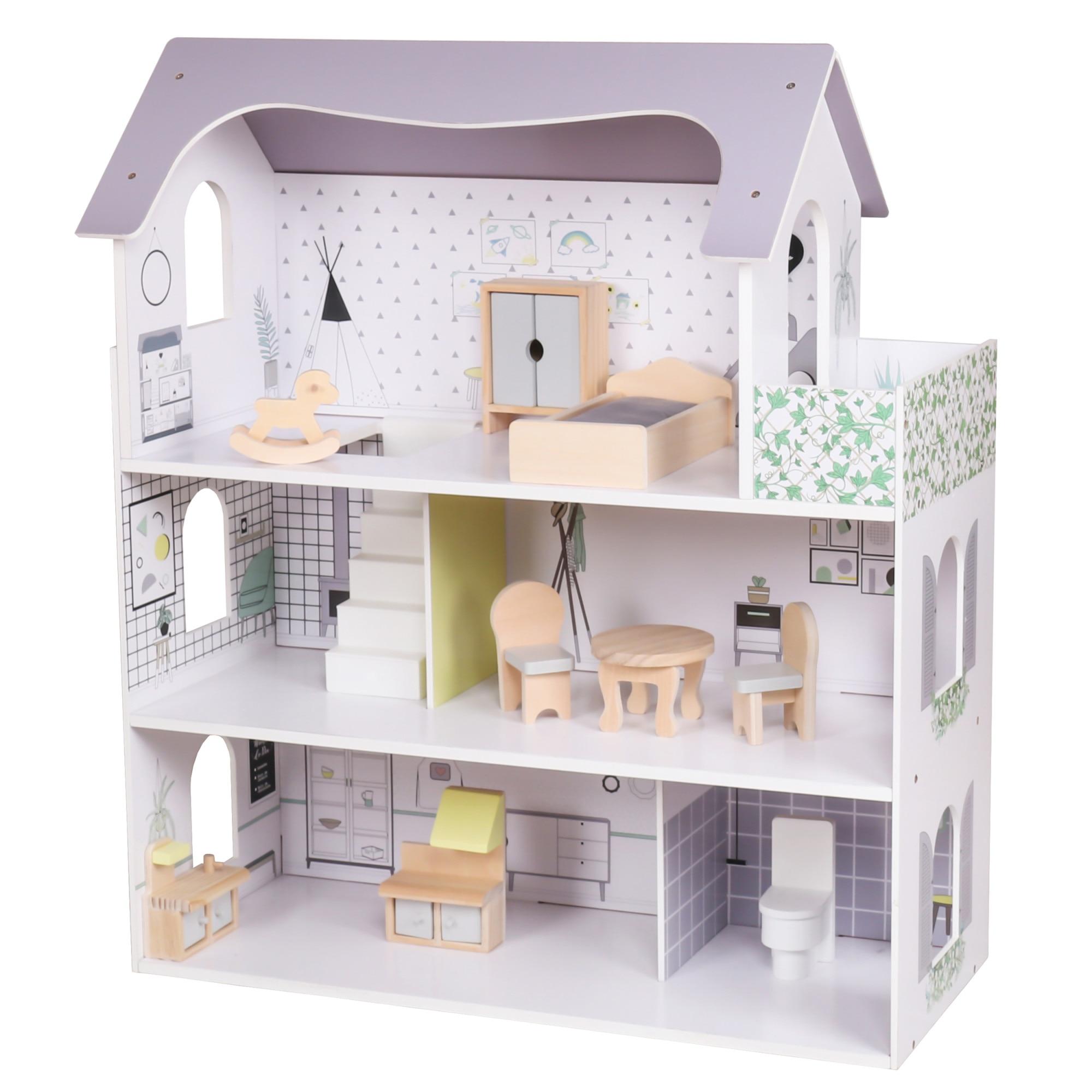 Fotografie Casuta din lemn pentru papusi, Mappy, 3 etaje cu mobilier, inaltime 70 cm, alb / gri