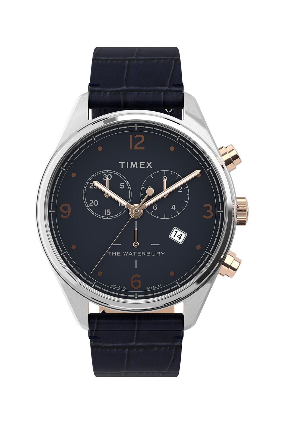 Fotografie Timex, Ceas cronograf, 42 mm, Bleumarin inchis