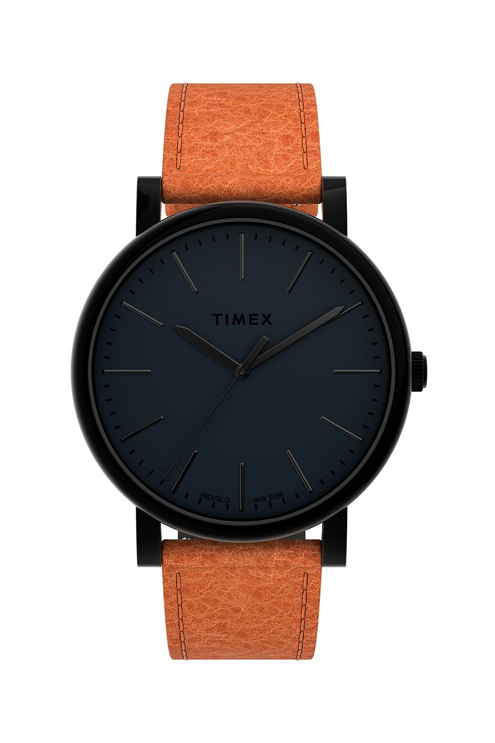 Fotografie Timex, Ceas analog cu o curea cu aspect texturat, Maro caramel