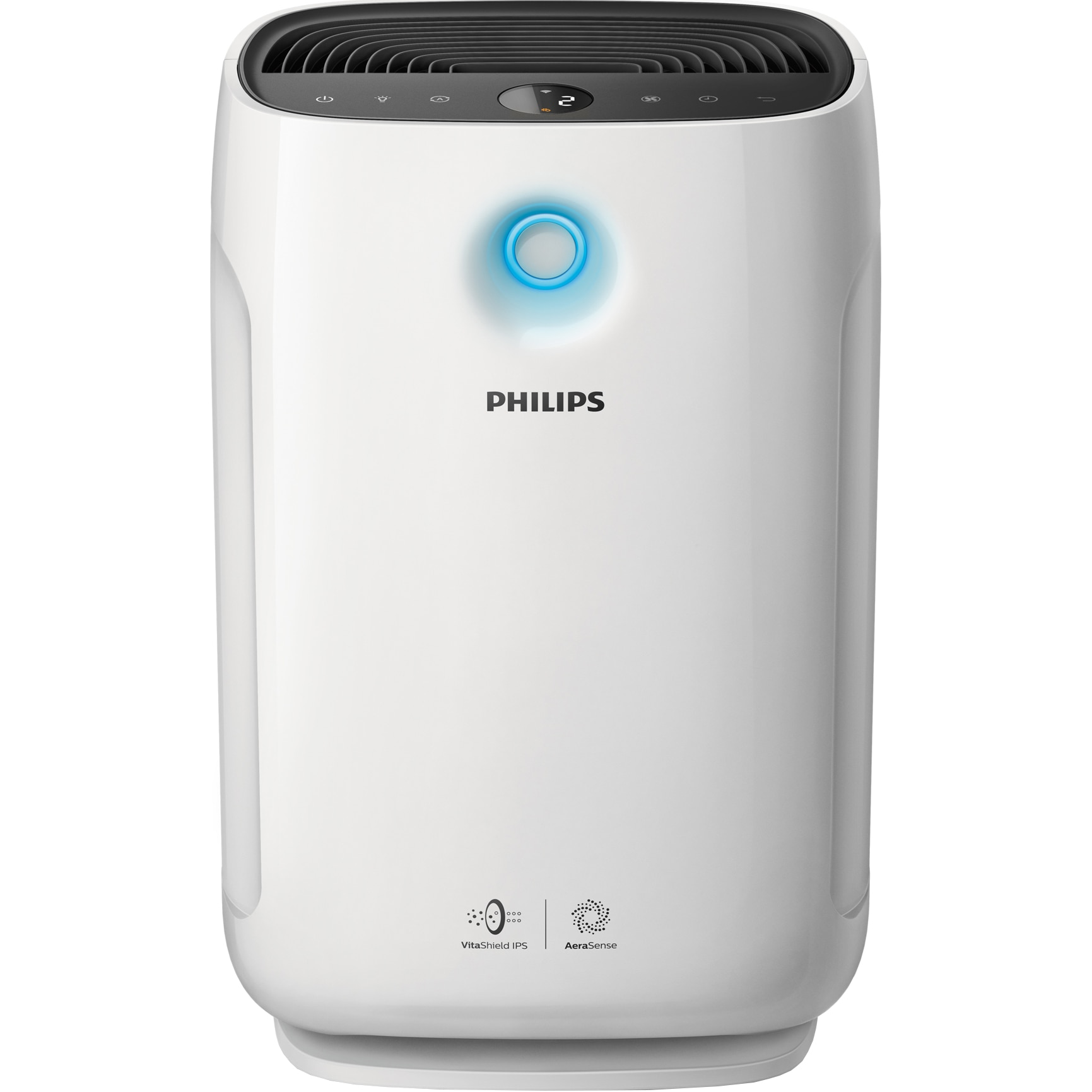 Fotografie Purificator de aer Philips AC2889/10, control aplicatie Air Matters, Tehnologie AeraSense, Tehnologie VitaShield, Feedback real privind calitatea aerului, Conectivitate Bluetooth, 3 moduri automate, diplay numeric, Senzor PM2,5, Alb