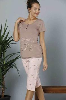 Női pamut pizsama,rövid ujjú,capri-halász alsóval,mogyorószín-púderrózsaszín,S