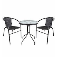 Комплект маси + 2 стола Palmonix,от ратан за двора, градината,терасата или балкона