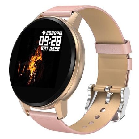 Спортен смарт часовник Smart Wear FC80, Пулс, Калории, Кръвно налягане, Bluetooth, Нотификации, Пепел от Рози